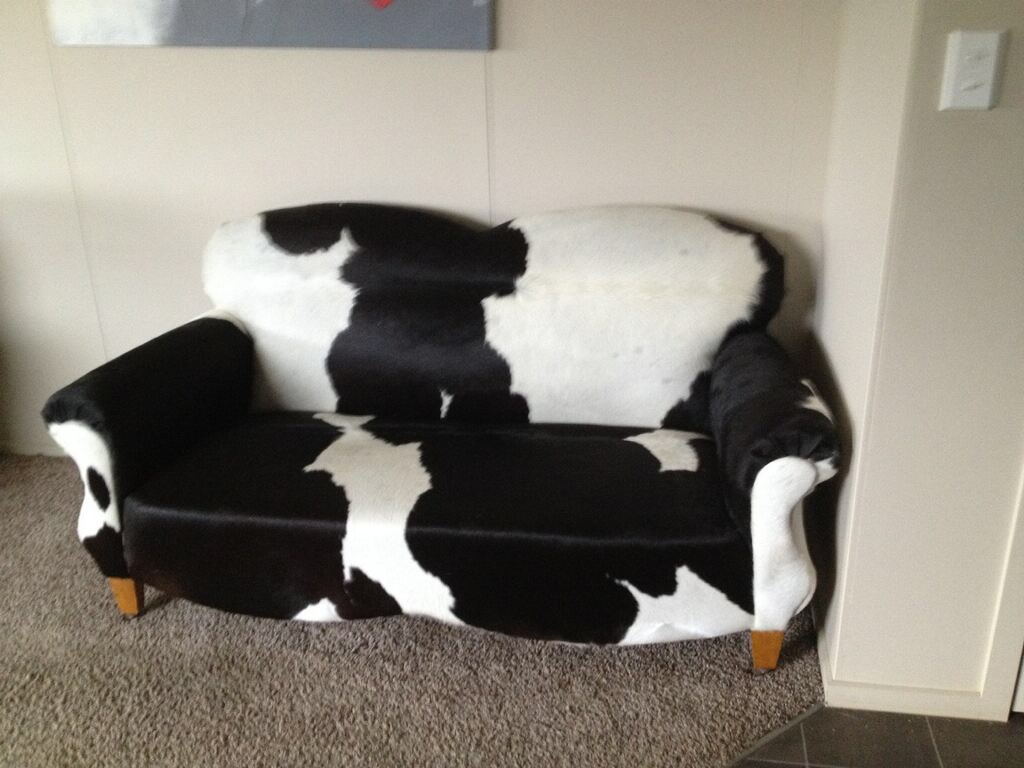 Beautiful cow hide couch made from our NZ cow hides!!